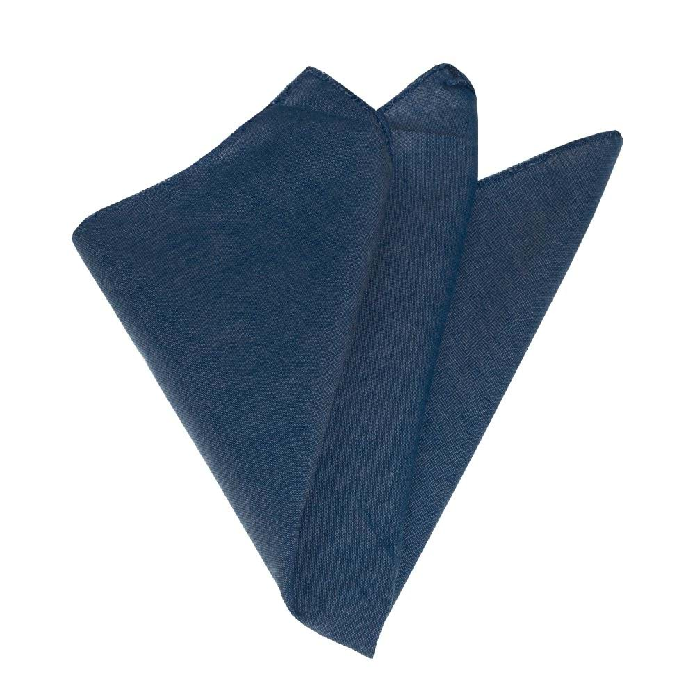 Blue Classical Solid Pocket Square