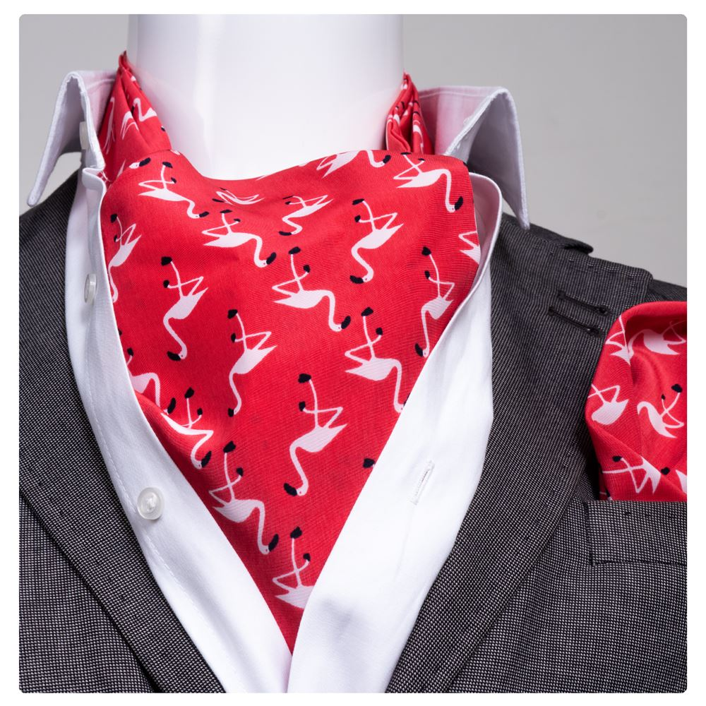 Red White Stork Printed Ascot Hanky Set