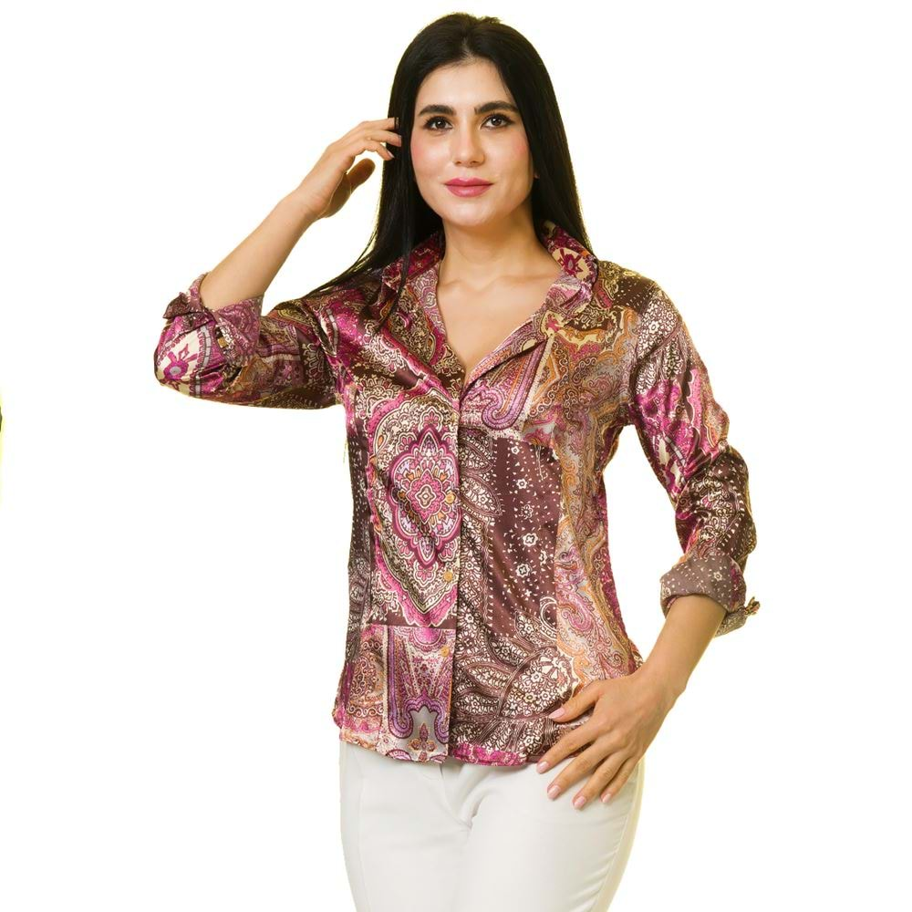 Purple Ethnical Printed Women's Shirt