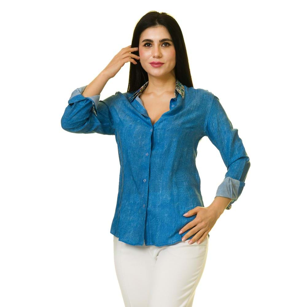 Blue with Printed Collar Women's Shirt