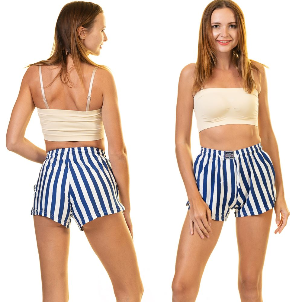Blue White Striped Women's Boxer Short with Pocket