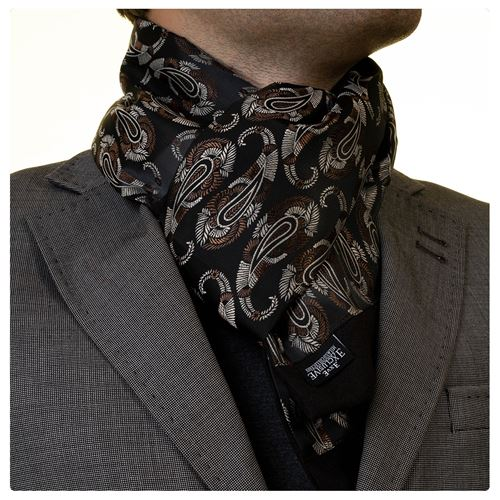 Brown Beige Paisley Mens Scarf