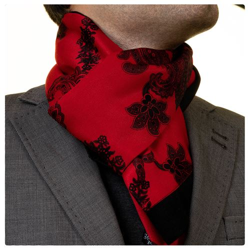 Red Black Printed Mens Scarf