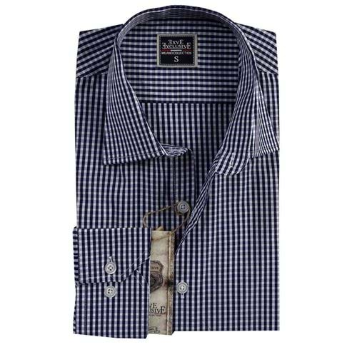 Navy White Checked Slim Fit Mens Shirt