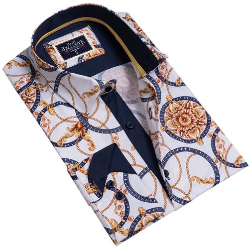 White Blue Desginer Men's Shirt