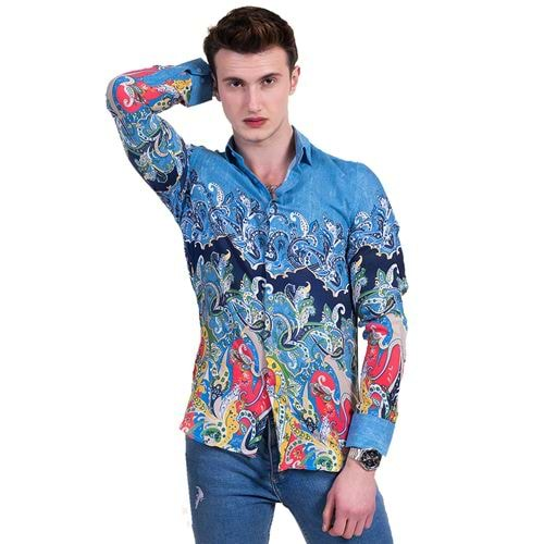 Blue Paisley Special Cut Men's Shirt