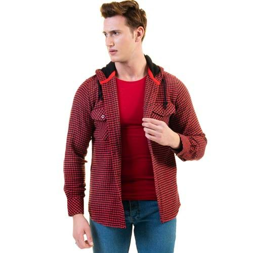 Red Black Houndstooth Men's Hooded Shirt