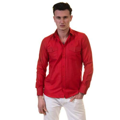 Red Men's Western Style Shirt