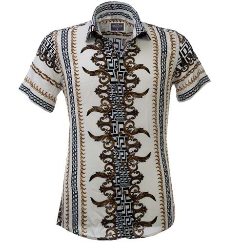 White Designer Men's Short Sleeves Shirt
