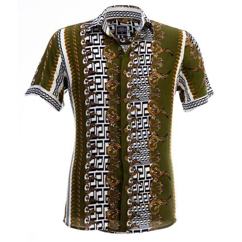 Green Designer Men's Short Sleeves Shirt
