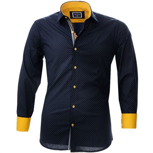 Navy Floral Yellow inside Men's Shirt
