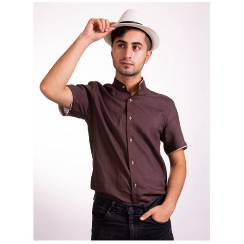 Brown Short Sleeve Men's Shirt