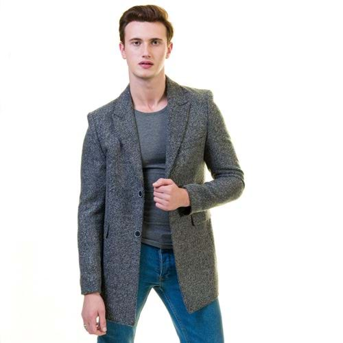 Gray Designer Men's Winter Coat