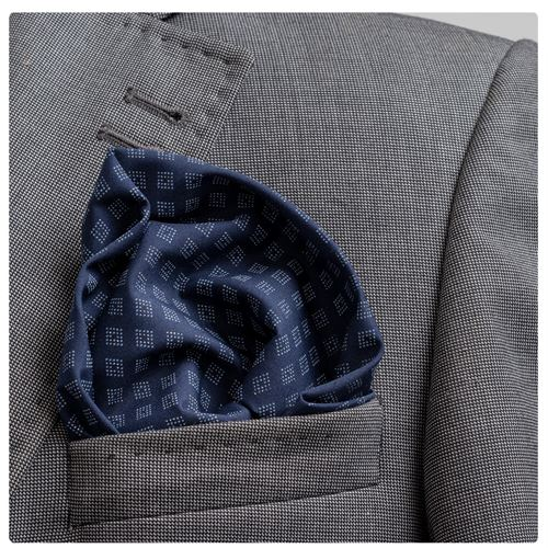 Navy Squares Pocket Square