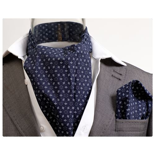 Navy White Geometric Ascot Tie Set