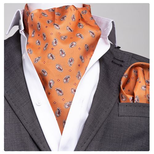 Orange Paisley Designer Ascot Hanky Set