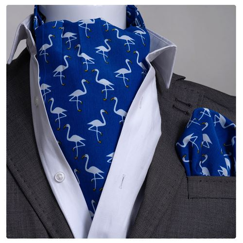 Blue with White Stork Ascot Hanky Set