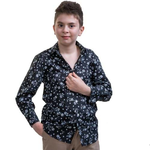 Black Floral Kids Dress Shirt