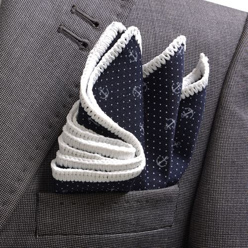 Navy Anchor Designer Signature Border Pocket Square