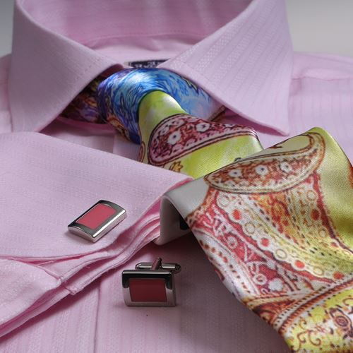 Pink French Cuff Shirt with Tie & Cufflinks