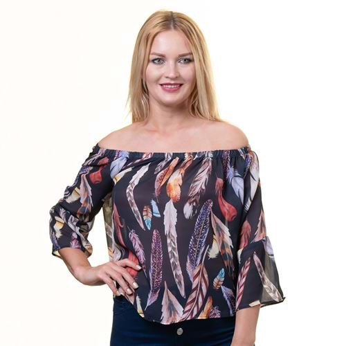 Black feather Women Blouse