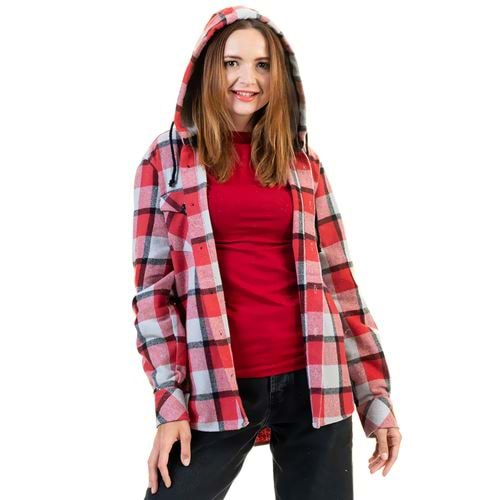 Gray Red Checkered Women's Hoodie Shirt