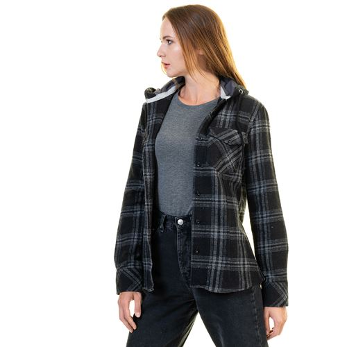 Gray Black Plaid Women's Hoodie Shirt