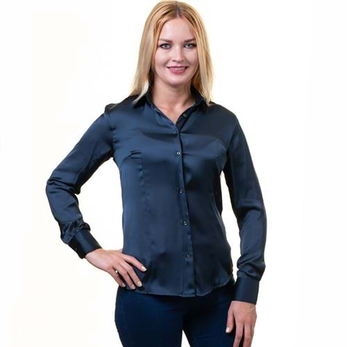 Navy Satin Women's Shirt