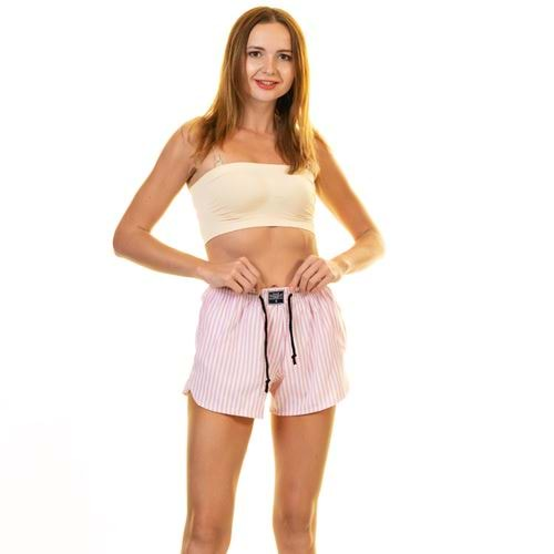 Pink White Striped Women's Boxer Short with Pocket